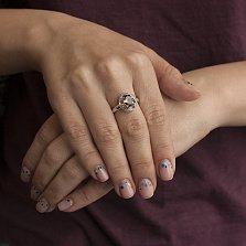 Серебряное кольцо с дымчатым кварцем  Эмилио