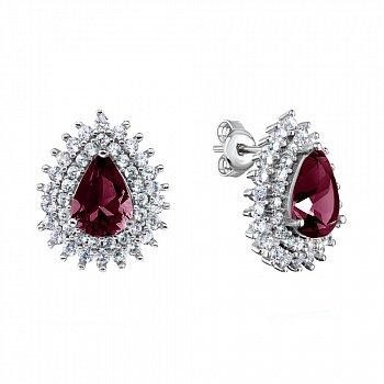 Серебряные серьги-пуссеты с рубинами и фианитами 000117838