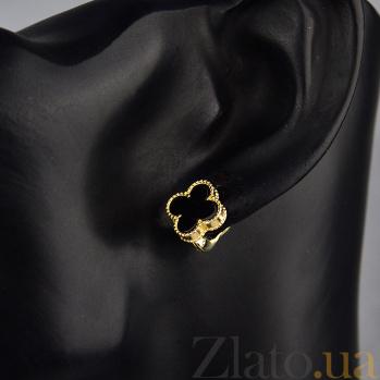 Золотые серьги Марго с черным агатом в стиле Ван Клиф 000096639