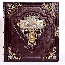 Фотоальбом История в кожаном переплете, декорированном серебряными позолоченными накладками