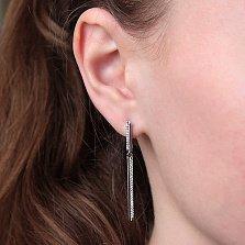 Серебряные серьги Изящная строгость с цирконием