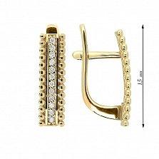 Золотые серьги Ванда с дорожкой бриллиантов