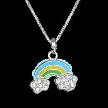 Детское серебряное колье Радуга в облаках с эмалью и фианитами