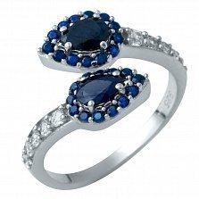 Серебряное кольцо Рамона с сапфиром и фианитами