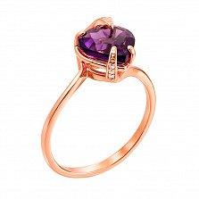 Кольцо из красного золота с аметистом и фианитами 000131332