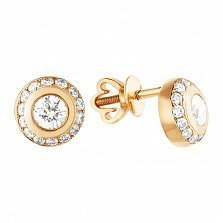 Золотые серьги-пуссеты Мирабелла с бриллиантами