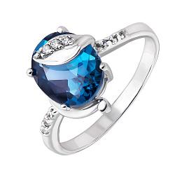 Серебряное кольцо с Лондон топазом и фианитами Восхищение