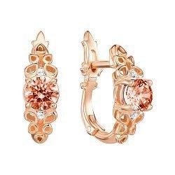 Серьги из красного золота с шампаньевыми и белыми кристаллами Swarovski 000133926