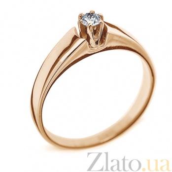 Кольцо из красного золота с бриллиантом Дамара 000016026