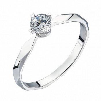 Каблучка на заручини з білого золота із діамантом 0,12 ct 000034670