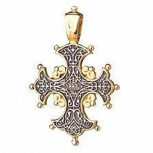 Серебряный крестик с позолотой и чернением Ника