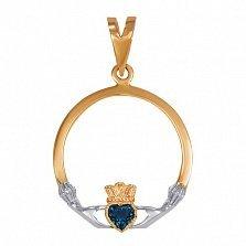 Золотой кладдахский кулон Царство любви с топазом лондон