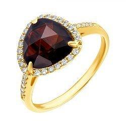 Кольцо из желтого золота с гранатом и бриллиантами 000139487