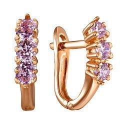 Золотые серьги с розовыми цирконием Swarovski 000037106