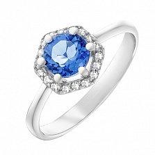 Серебряное кольцо Теодора с кварцем цвета танзанит и фианитами