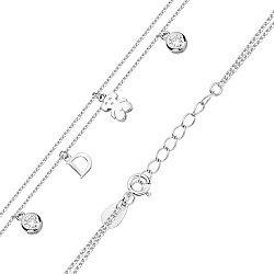 Серебряный многослойный браслет с подвесками и фианитами в стиле Тоус 000131576