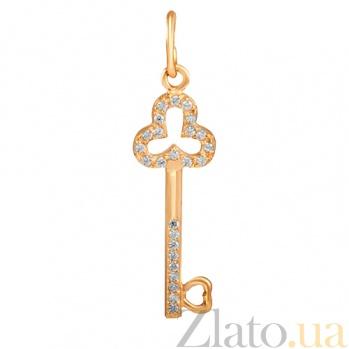 Подвес Ключ из красного золота с фианитами 000023244