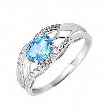 Кольцо в белом золоте Ульяна с голубым топазом и фианитами