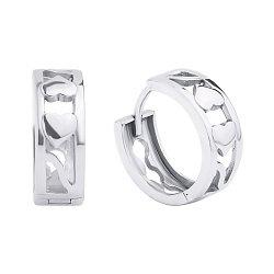Серебряные серьги-конго с сердечками, d 14.5mm  000118052