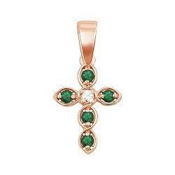 Золотой декоративный крестик с изумрудами и бриллиантом 000117156