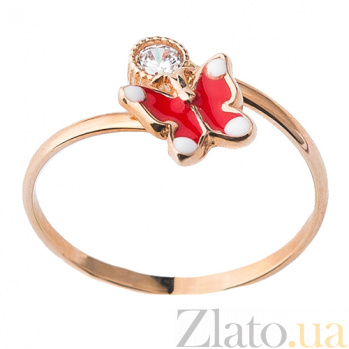 Золотое кольцо с фианитом и цветной эмалью Бабочка ONX--к03698