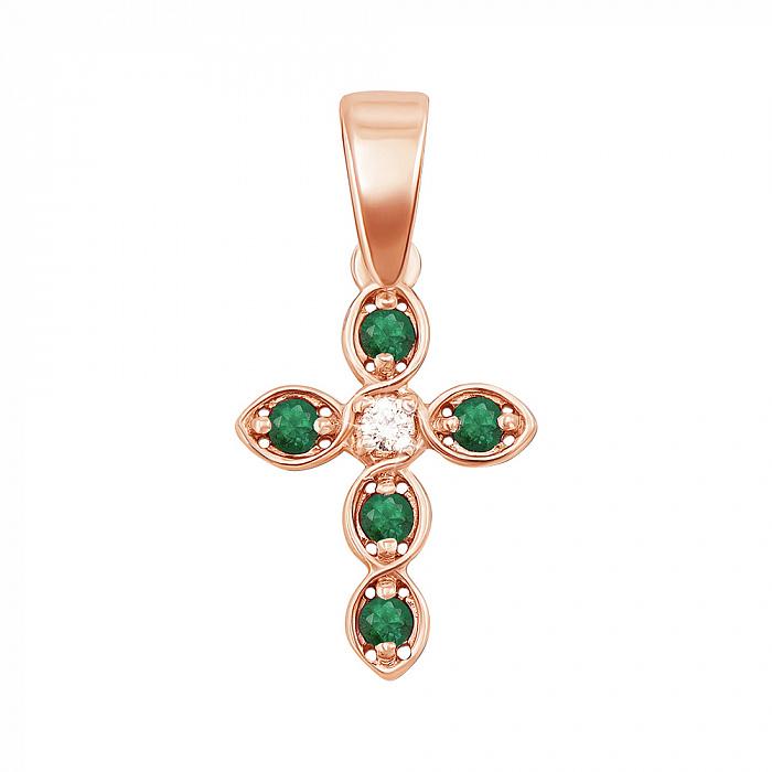 Золотой декоративный крестик с изумрудами и бриллиантом 000117156 000117156