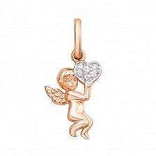 Золотой кулон Ангелочек с сердцем в комбинированном цвете с фианитами