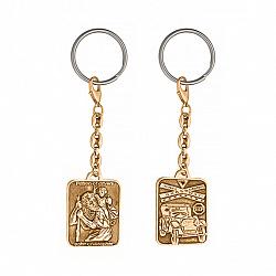 Позолоченый серебряный брелок Святой Христофор оберег для водителя с карабином и кольцом