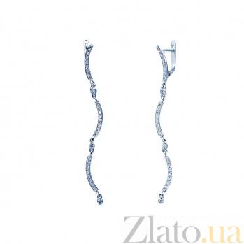 Серебряные серьги-подвески с фианитами Джанин 000027197