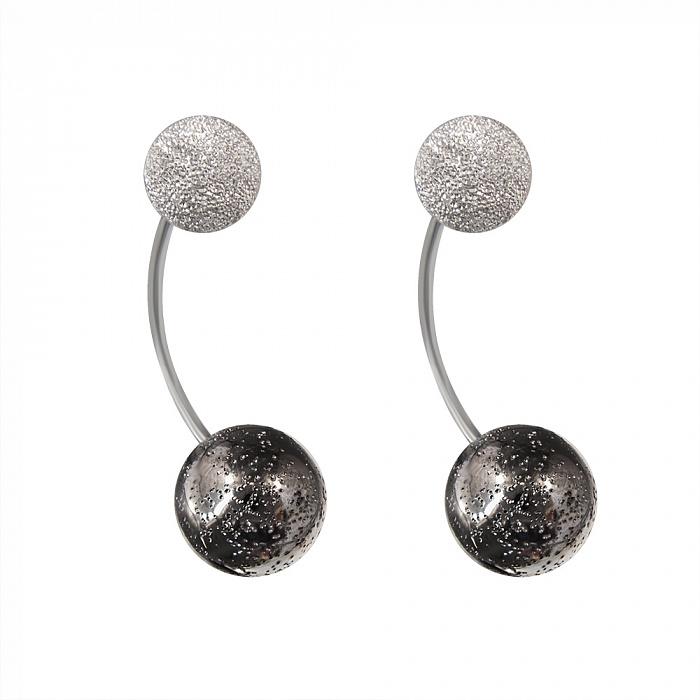 Серебряные серьги-джекеты Космос с чернением 000079872