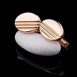 Золотые запонки Ади с фактурными полосами