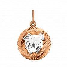 Золотая подвеска Телец в комбинированном цвете с алмазной гранью 000129223