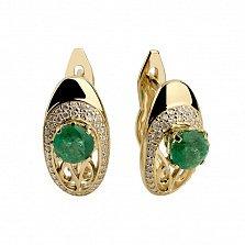 Золотые серьги с изумрудами и бриллиантами Виконтесса