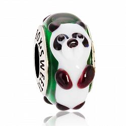 Серебряный шарм Панда с муранским стеклом