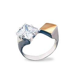 Серебряное кольцо Гвинет с золотой накладкой, фианитом и родием