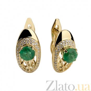 Золотые серьги с изумрудами и бриллиантами Виконтесса 000030404