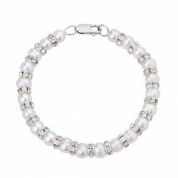 Браслет зі срібла і перлів з фіанітами 000148105