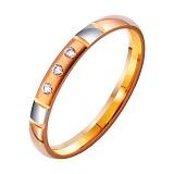 Золотое обручальное кольцо Стиль в комбинированном цвете с фианитами