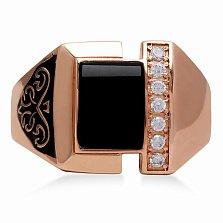 Золотой перстень Герцог в красном цвете с фианитами, имитацией оникса и черной эмалью