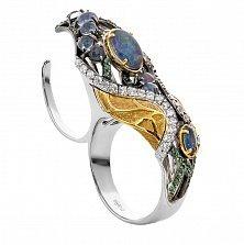 Серебряное кольцо на два пальца с опалами Сокровища инков