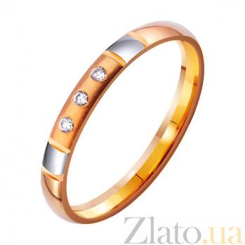Золотое обручальное кольцо Стиль в комбинированном цвете с фианитами TRF--4121333