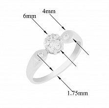 Золотое помолвочное кольцо Торри в белом цвете с фианитами
