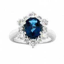 Золотое кольцо с сапфиром и бриллиантами Страстный голос