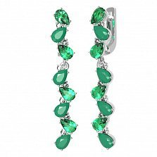 Серебряные серьги-подвески Яра с зеленым агатом, зеленым кварцем и фианитами