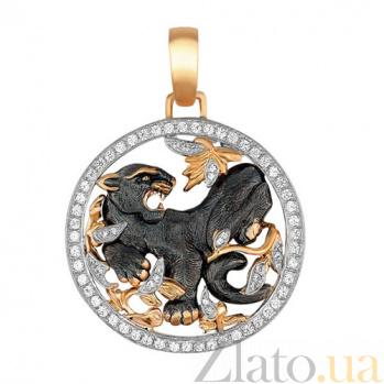 Подвеска Черная Пантера из желтого золота с фианитами VLT--Т377-3