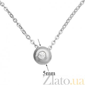 Колье в белом цвете золота Миа с фианитом TNG--860113б