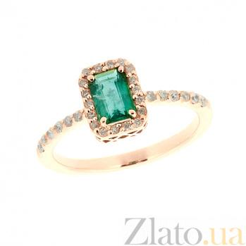 Золотое кольцо в красном цвете с изумрудом и бриллиантами Блюз ZMX--RE-6602_K