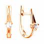 Золотые серьги с цирконием Swarovski 000057022