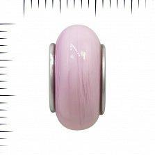 Серебряный шарм Ягодный коктейль с розовым муранским стеклом