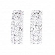 Золотые серьги Аурелия в белом цвете с дорожками бриллиантов